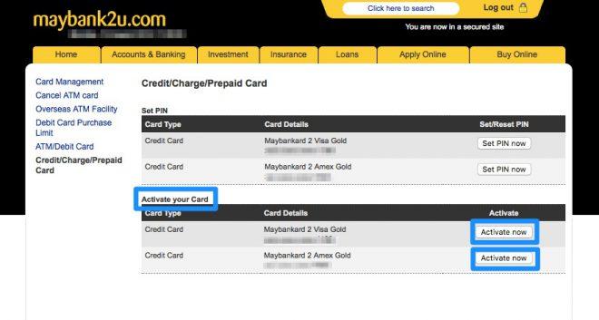 Narui My Maybank credit card activation 2