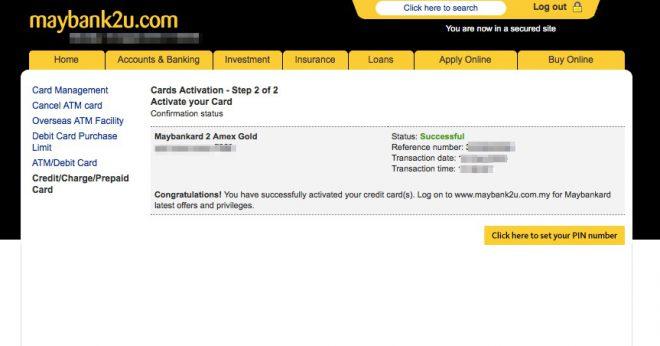 Narui My credit card activation 3 Maybank