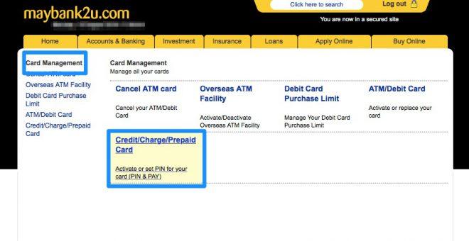 Narui My Maybank credit card activation 1