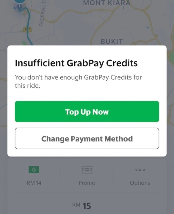 Grab支払い方法変更画面2